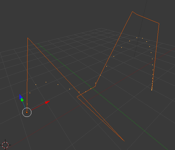 Blender screenshot of polygon with bezier curve